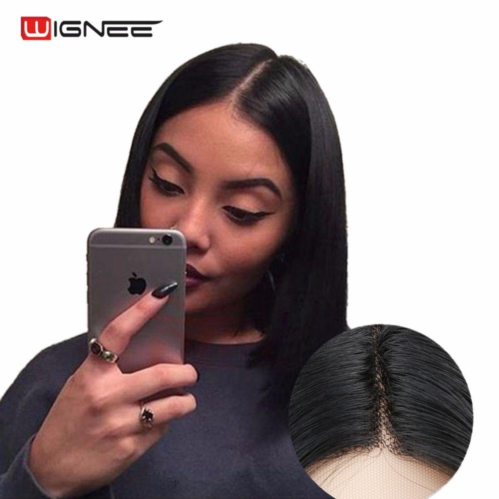 Wignee Avant de Lacet Perruques Synthétiques Pour Femmes Naturel Noir Cheveux Raides moyen Partie Bob Perruque 3 Peignes Résistant À La Chaleur Faux Cheveux Perruque