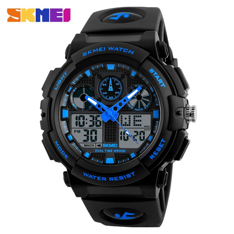 SKMEI Brand Men's Watches Men Black Dual Display <font><b>Digital</b></font> Quartz Wrist Watch Mens Sport Watches Men Waterproof Relogio Masculino