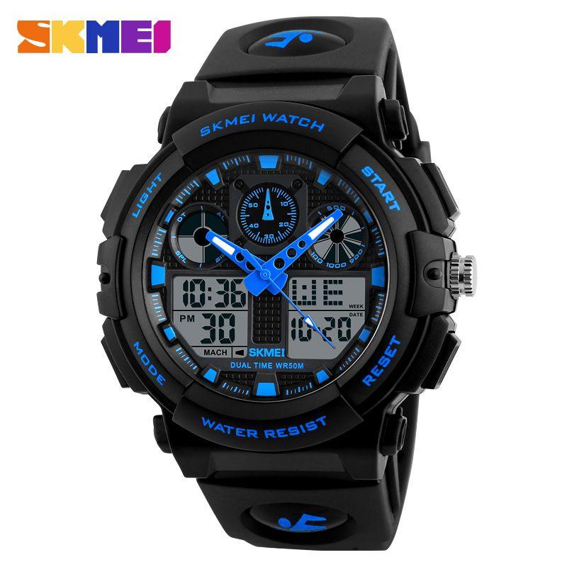 SKMEI Brand Men's Watches Men <font><b>Black</b></font> Dual Display Digital Quartz Wrist Watch Mens Sport Watches Men Waterproof Relogio Masculino