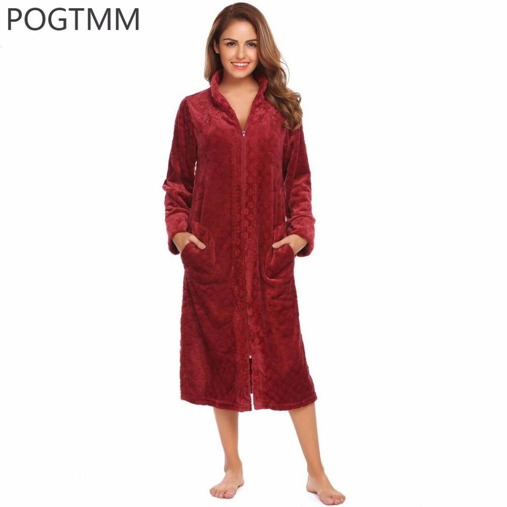 Lady Winter Long Bathrobe Plush Spa Bath Robe Women Large Size Flannel Zipper Dressing Gown Female Warm Sleepwear Peignoir Femme