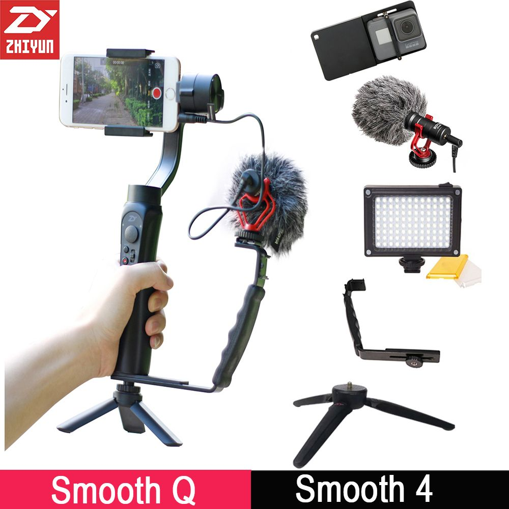 Zhiyun Smooth 4 3-Axis Gimbal Stabilizer Smooth Q w Boya BY-MM1 microphone Vlogging following shoot for iPhone X Gopro 6 SJCAM