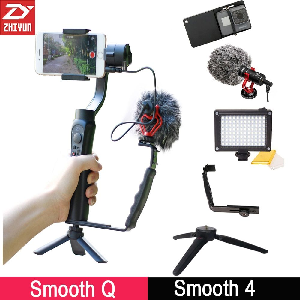 Zhiyun Smooth 4 3-Axis Gimbal Stabilizer w Boya BY-MM1 Microphone Vlogging Following Shoot for iPhone Samsung X Gopro 6 SJCAM