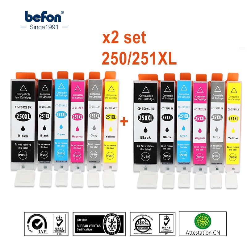 befon X2 set Compatible PGI 250 CLI 251 XL Cartridge Replacement for Canon PGI250 CLI251 Ink Cartridge IP7220 MG5420 MX922 722