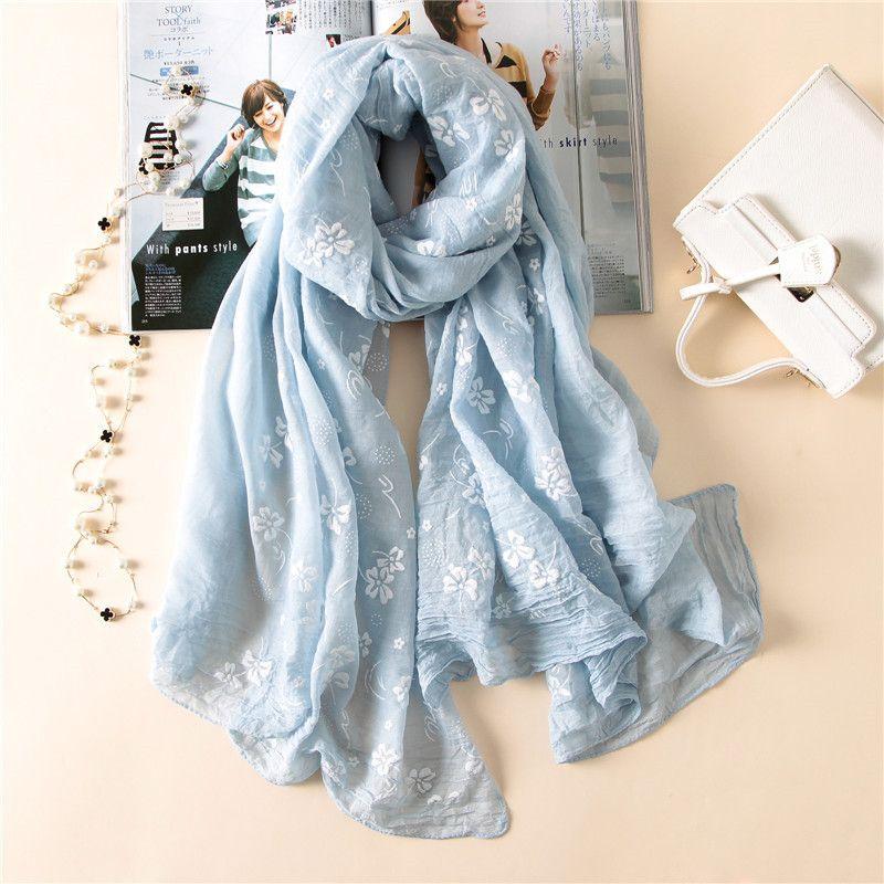 2019 nouvelle marque printemps écharpe pour femme Broder mode longues écharpes coton d'hiver châle lady pashmina bandana foulard hijabs femme