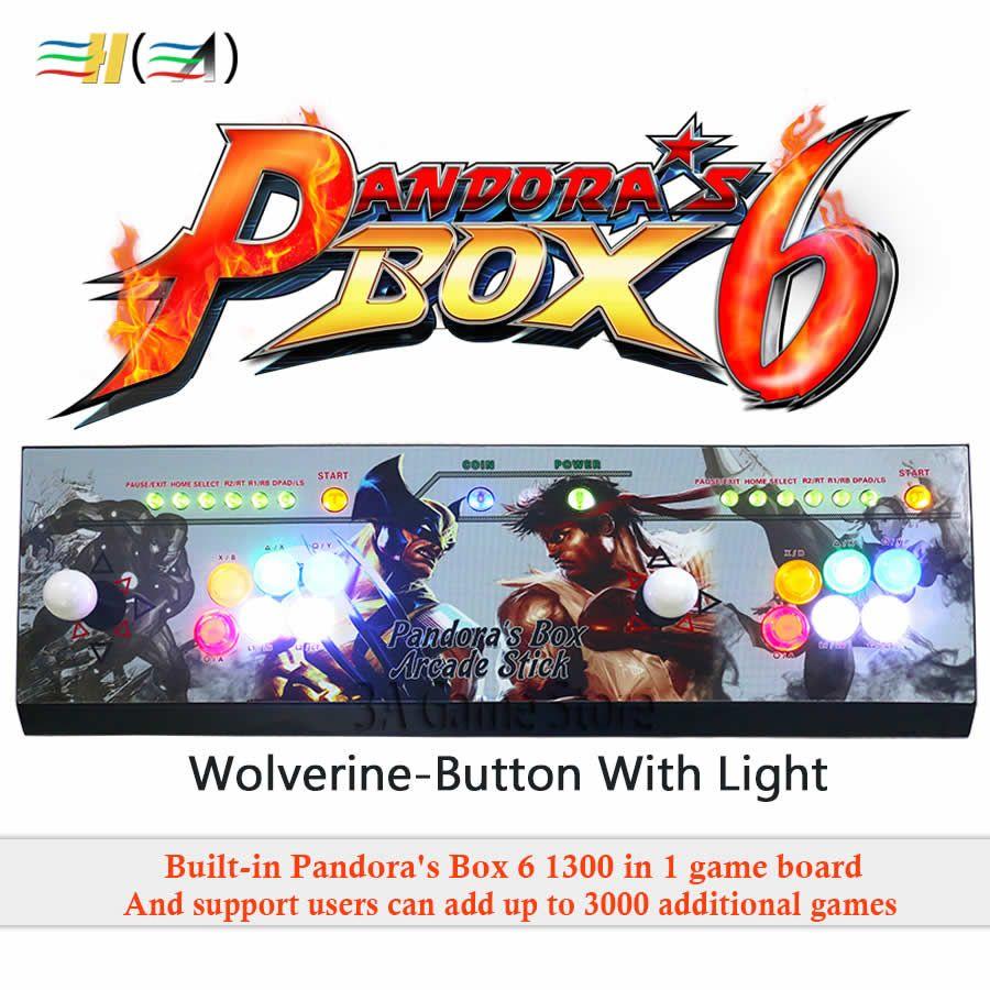 New Pandora box 6 1300 in 1 arcade control kit joystick usb buttons zero delay 2 players HDMI VGA arcade console controller TV