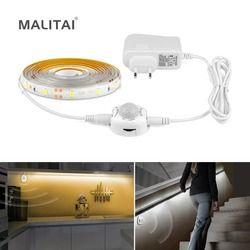 LED sensor de movimiento armario lámpara de cama bajo gabinete luz de noche LED tira flexible 12 V Cintas 110 V 220 V ee.uu. UE fuente de alimentación