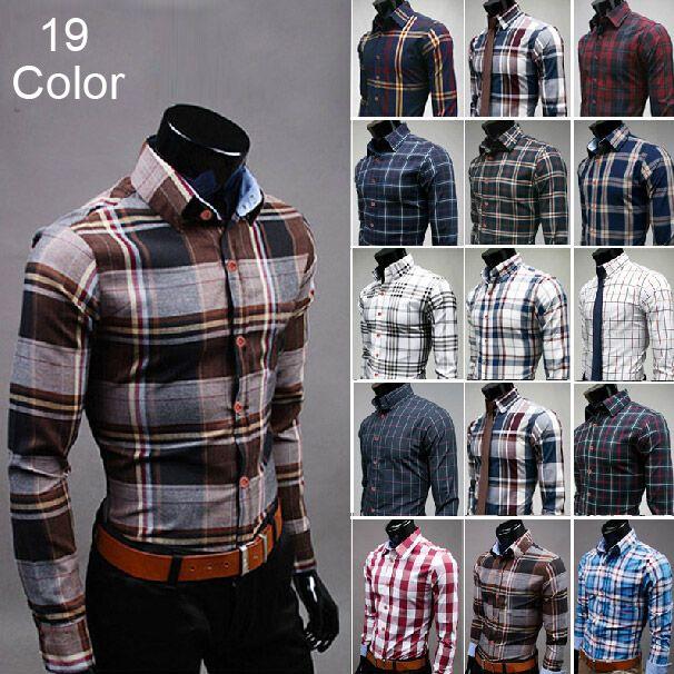 New 2014 Spring Hot Plus Size Fashion Plaid Mens Shirts Casual Slim Fit Long-sleeves <font><b>Grid</b></font> Social Camisa Masculina for Man M-3XL