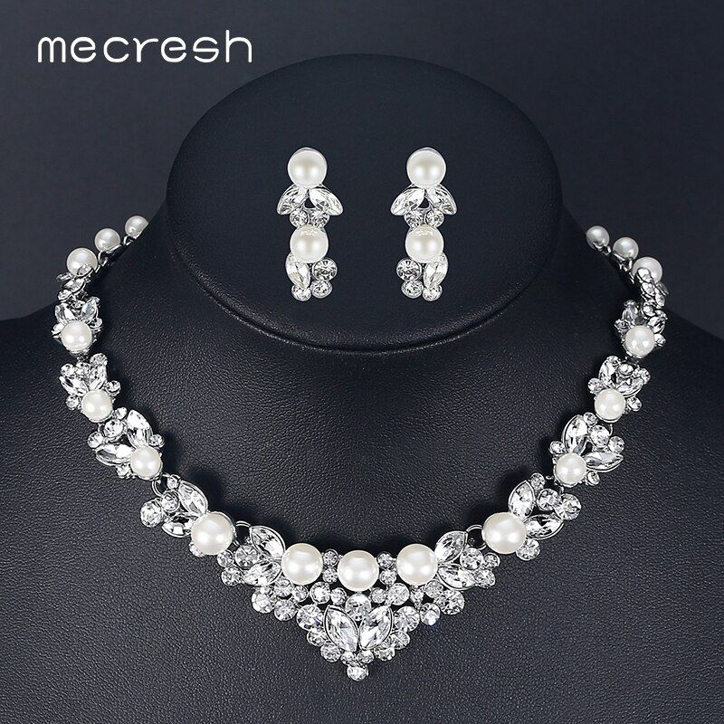 Mecresh élégant simulé perle bijoux de mariée ensembles argent couleur feuille cristal colliers boucles d'oreilles ensembles bijoux de mariage TL280