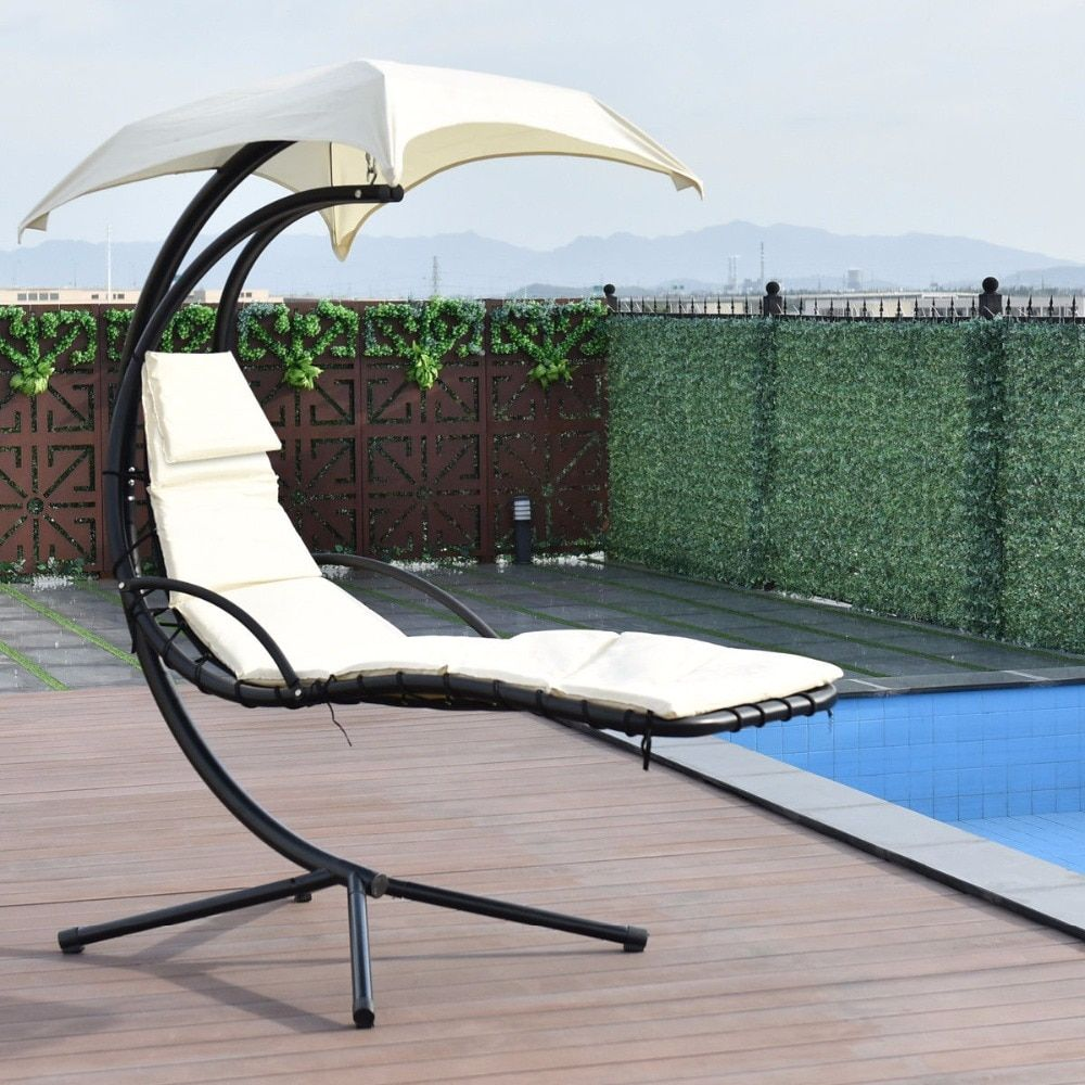 Giantex Hanging Chaise Lounger Chair Arc Stand Swing Hammock Chair Canopy Beige Outdoor Furniture OP3349WH