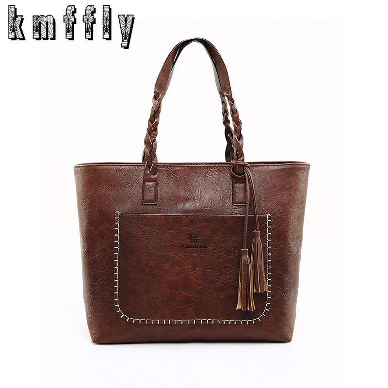 KMFFLY Luxury Brand <font><b>Women</b></font> Shoulder Bag Soft Leather TopHandle Bags Ladies Tassel Tote Handbag Designer Handbags Ladies Hand Bags