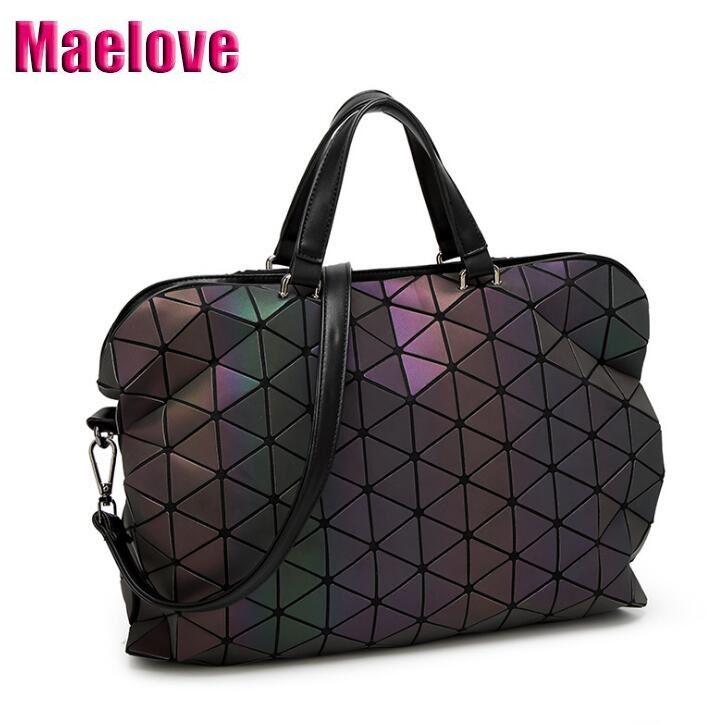 Maelove sac lumineux 2019 géométrique lattique diamant Plaid sacs à main sac à bandoulière hologramme Laser argent livraison directe