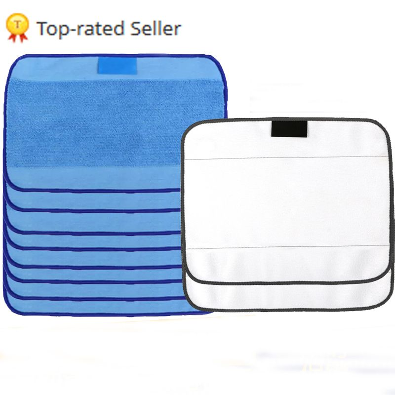 Microfiber 8pcs Wet & 2pcs Dry Dweeping Pro-Clean Mopping Cloths for Robot  irobot Braava Minit 4200 5200 5200C 380 380t