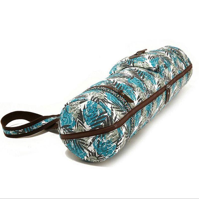 Damen Yoga-Matte Tasche Druck Stil Leinwand Große Kapazität Pilates Pad Bag Fitness Rucksack Sport Übung Gym Pack Yoga-matten tasche