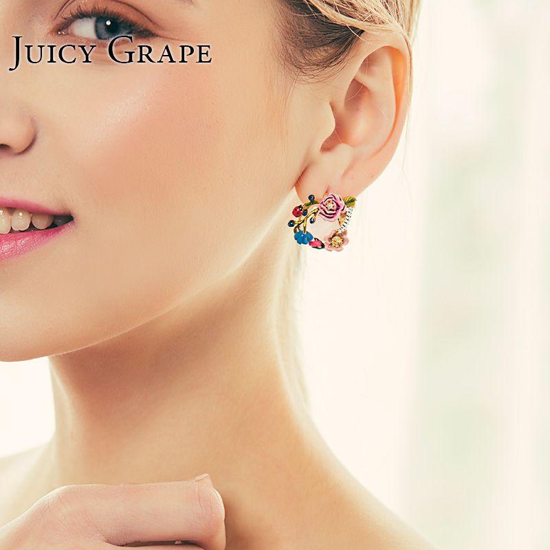 Saftig Trauben Frauen Mode Schmuck Raupe Blume Blühen Kristall Ohrringe Marienkäfer Spielen Emaille Stud Ohrring Für Frauen