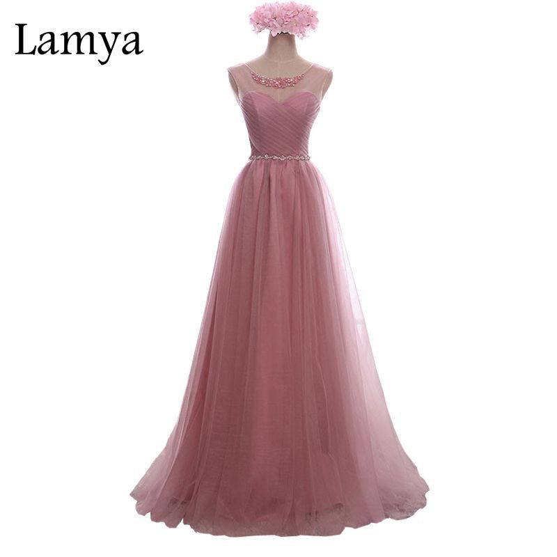 Lamya Crystal Lace Long Prom Dress For Party Elegant A Line Special Occasion Sleeveless Floor Length Lace Up Back Summer Dress