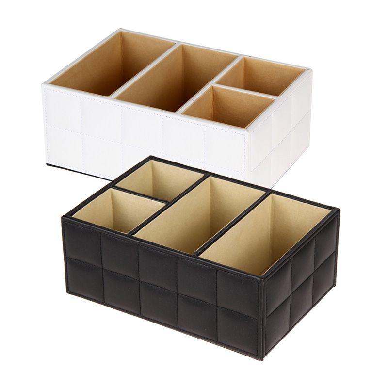 Boîte en bois Bureau Organisateur Support De La Télécommande Conteneur De Stockage Multifonctionnel PU Boîte De Rangement En Cuir