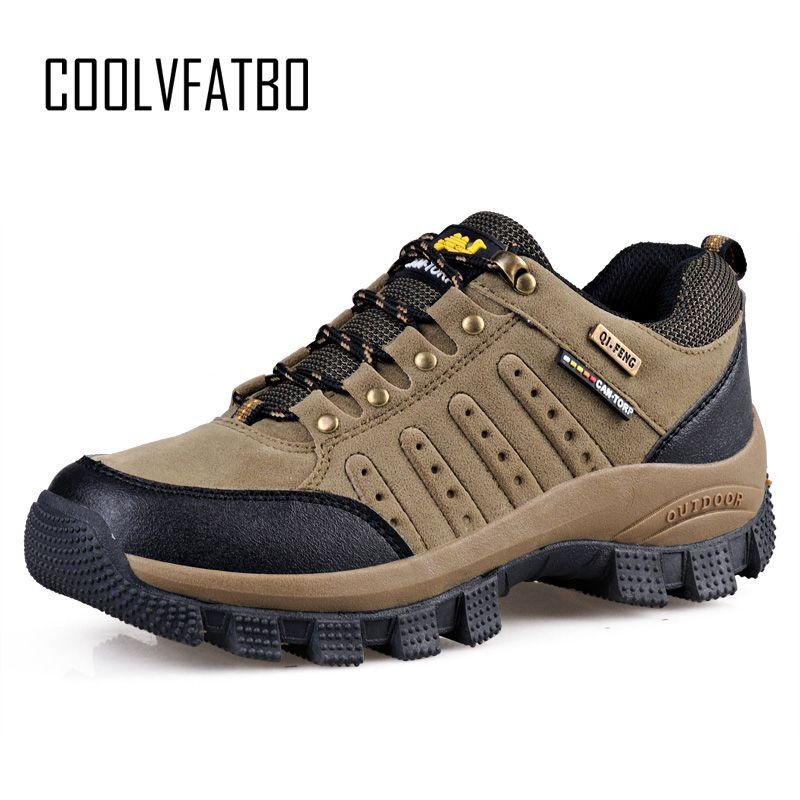 COOLVFATBO Bottes Tactiques Militaires Pour Hommes En Cuir À Bout Rond Baskets Hommes décontracté Escalade Randonnée Chaussures grande taille 36-47
