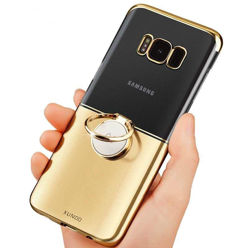 Pour Samsung Galaxy S8 Cas De Luxe Transparent Anneau Magique Titulaire dur PC Cas de Téléphone Pour Smsung Galaxy S8 plus De Protection Funda