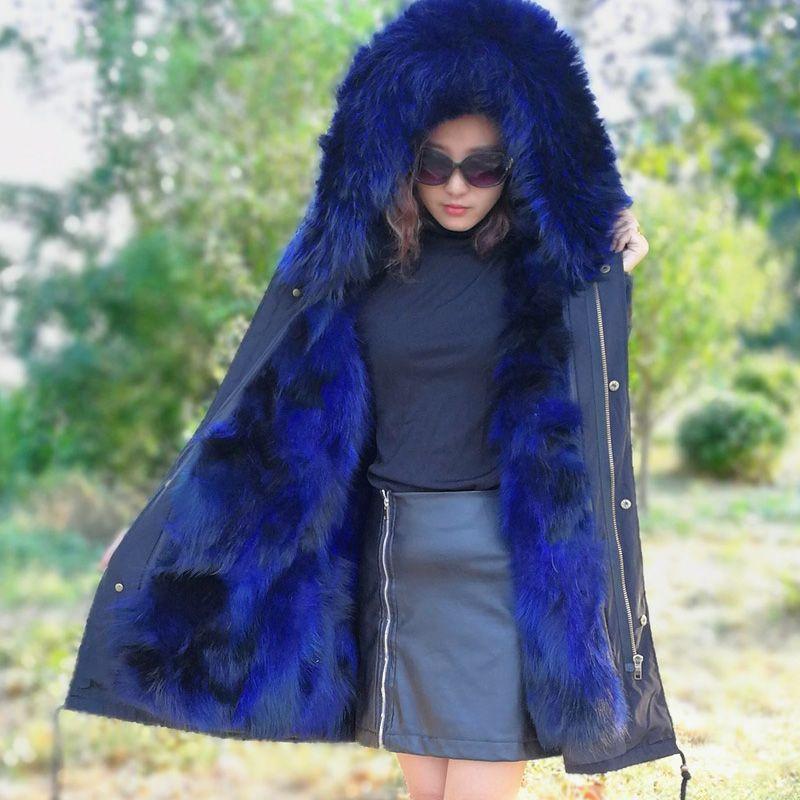 XINYUXIANG 2018 New Real Fox fur parkas women winter hooded Jacket long plus size Streetwear fashion pink red zipper coats 149BA