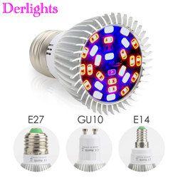 Полный Spectrum18W/28 W E27 E14 GU10 СИД свет для выращивания красные, синие УФ ИК Светодиодная лампа для роста растений растения, овощи