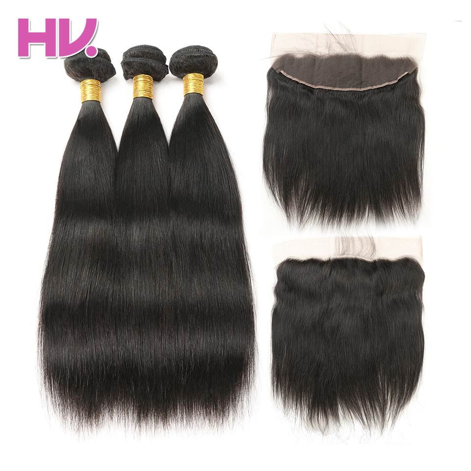 Hair Villa Remy Brazilian Straight Hair Ear to Ear Lace Frontal Closure With Bundles Salon Human Hair Weave with Frontal Closure