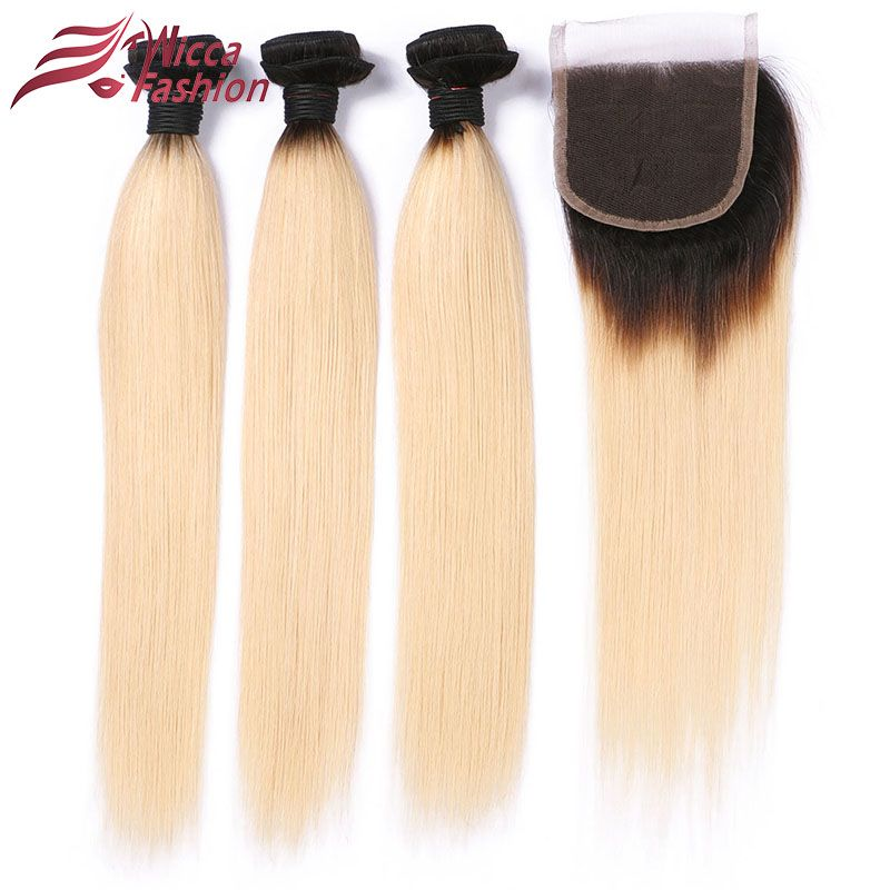 Dream Beauty Brazilian Straight Hair 1B 613 Ombre Blonde Bundles with Closure Remy Human Hair Bundles Weave with Closure