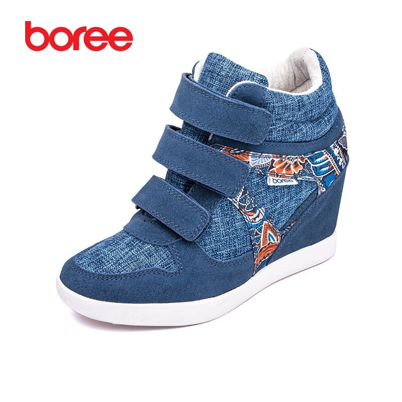 Boree Women 's Fashion Height Increasing Casual Shoes Breathable Cow Suede Print Hook&Loop High-Top Mujer Zapatos Casuais 80751