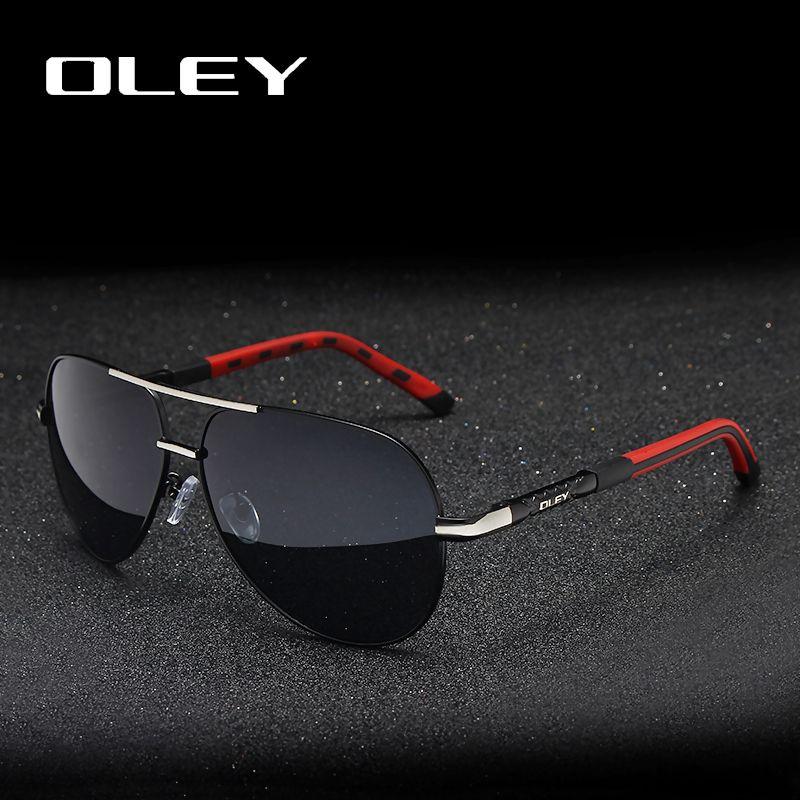OLEY marque hommes Vintage aluminium lunettes de soleil polarisées classique pilote lunettes de soleil revêtement lentilles pour hommes/femmes ensemble complet de boîte