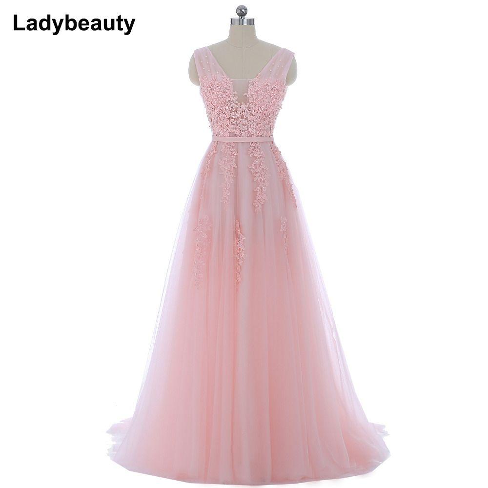 Vestido de festa New Coming Robe De Soiree V Neck with Lace Appliques Long Tulle Party Evening Dresses 2018 Pink Navy Blue Gray