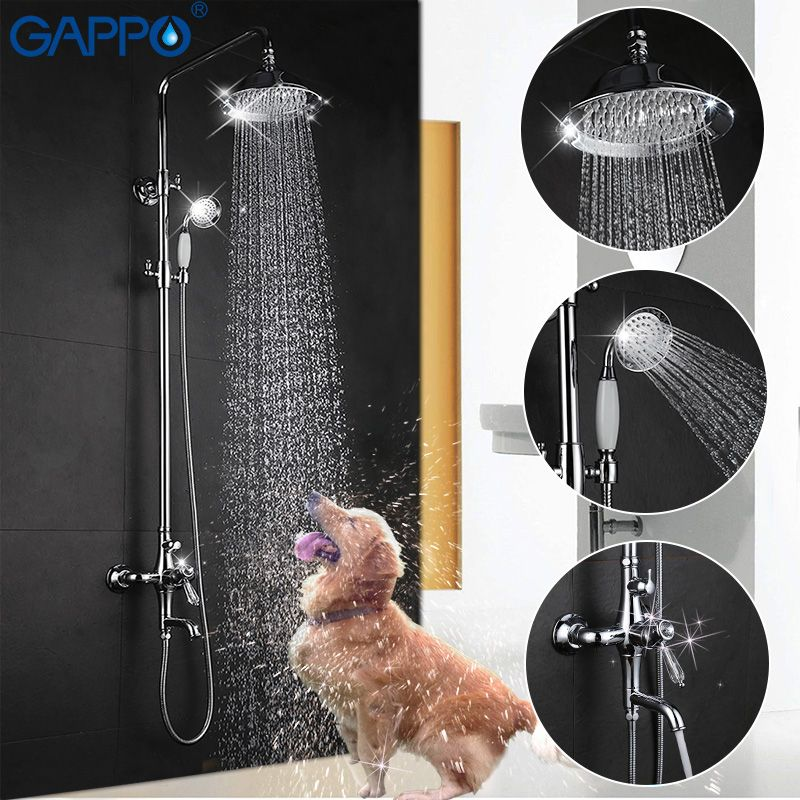 GAPPO bathroom shower faucet set bathtub mixer shower faucet chrome Bath Shower tap waterfall big rain shower head GA2497