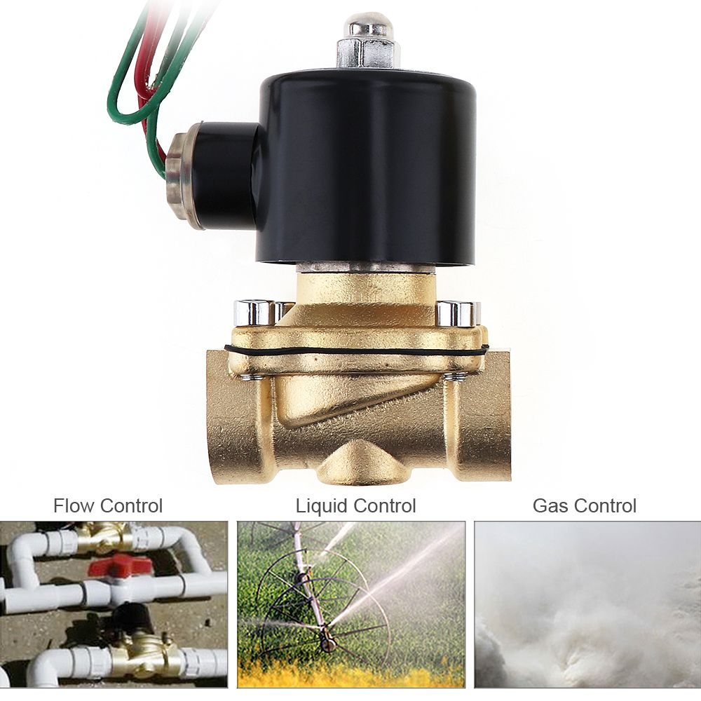 3/4 1/4 AC 110V / 220V Electric Solenoid Valve Brass <font><b>Pneumatic</b></font> Valve for Water / Oil / Gas