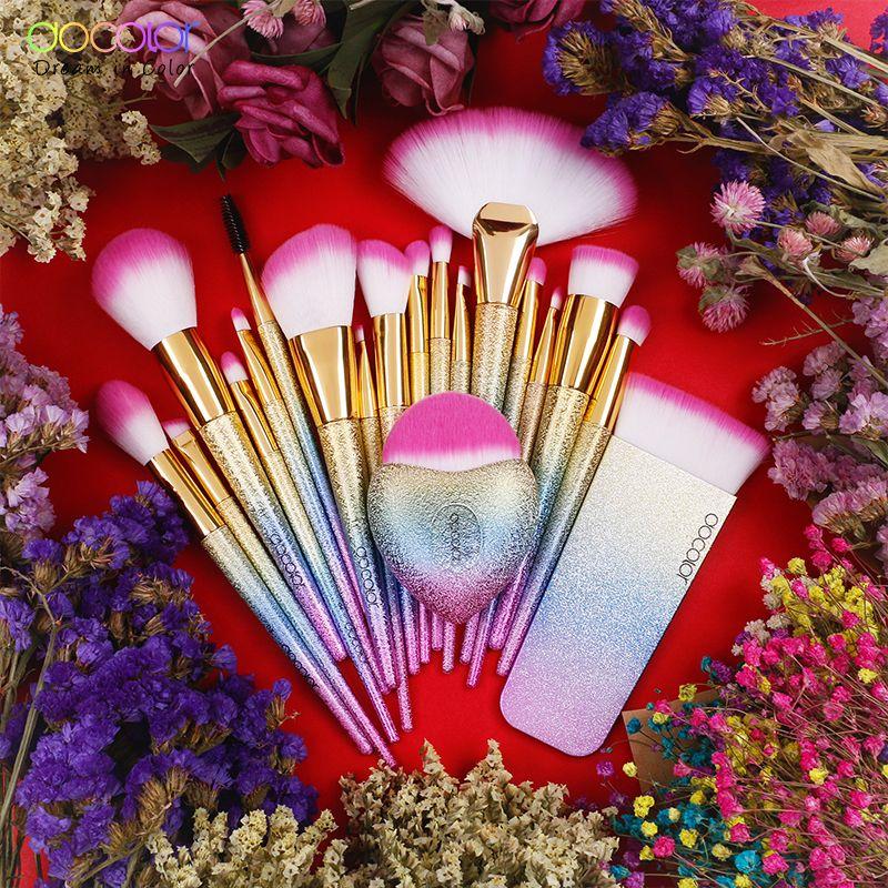 Docolor 19 stücke Fantasie Pinsel Sammlung Schönheit Make-Up Pinsel Top Synthetische Haar Regenbogen Hand Beste Geschenk Für Frauen