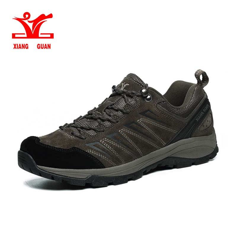 xiangguan Hiking Shoes Man Waterproof Breathable Gray Mountain Climbing Outdoor Shoes Nylon leather Trekking Sneakers 36-45