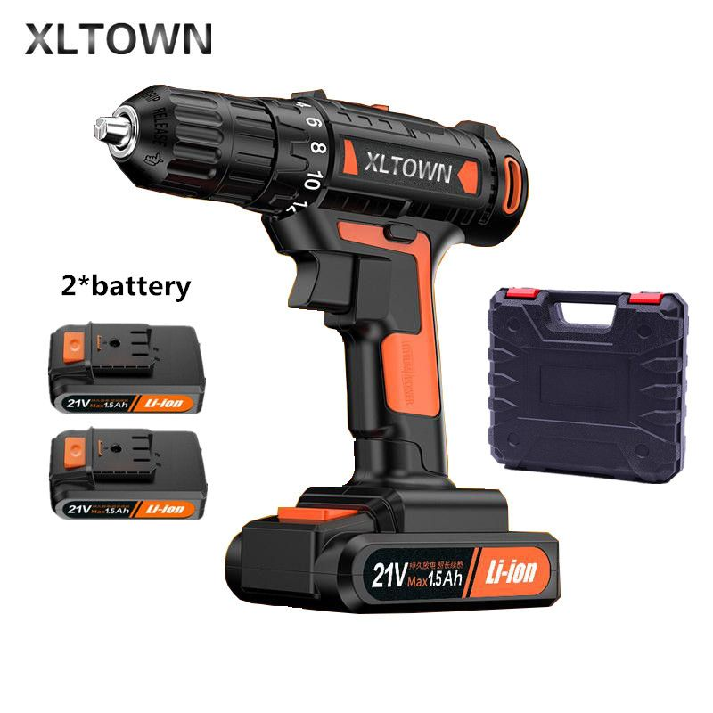 Xltown 21v High end Mini Electric Drill Rechargeable Lithium Battery Electric Screwdriver Large Torque Household Drill PowerTool