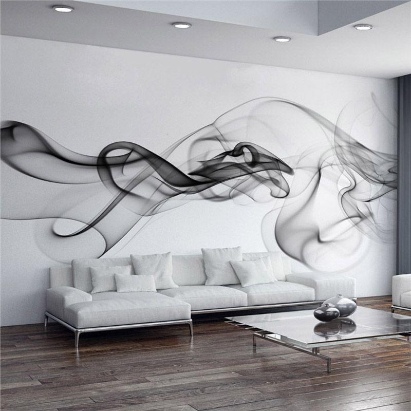 Papier peint Photo personnalisé moderne 3D papier peint Mural noir blanc fumée brouillard Art Design chambre bureau salon papier peint