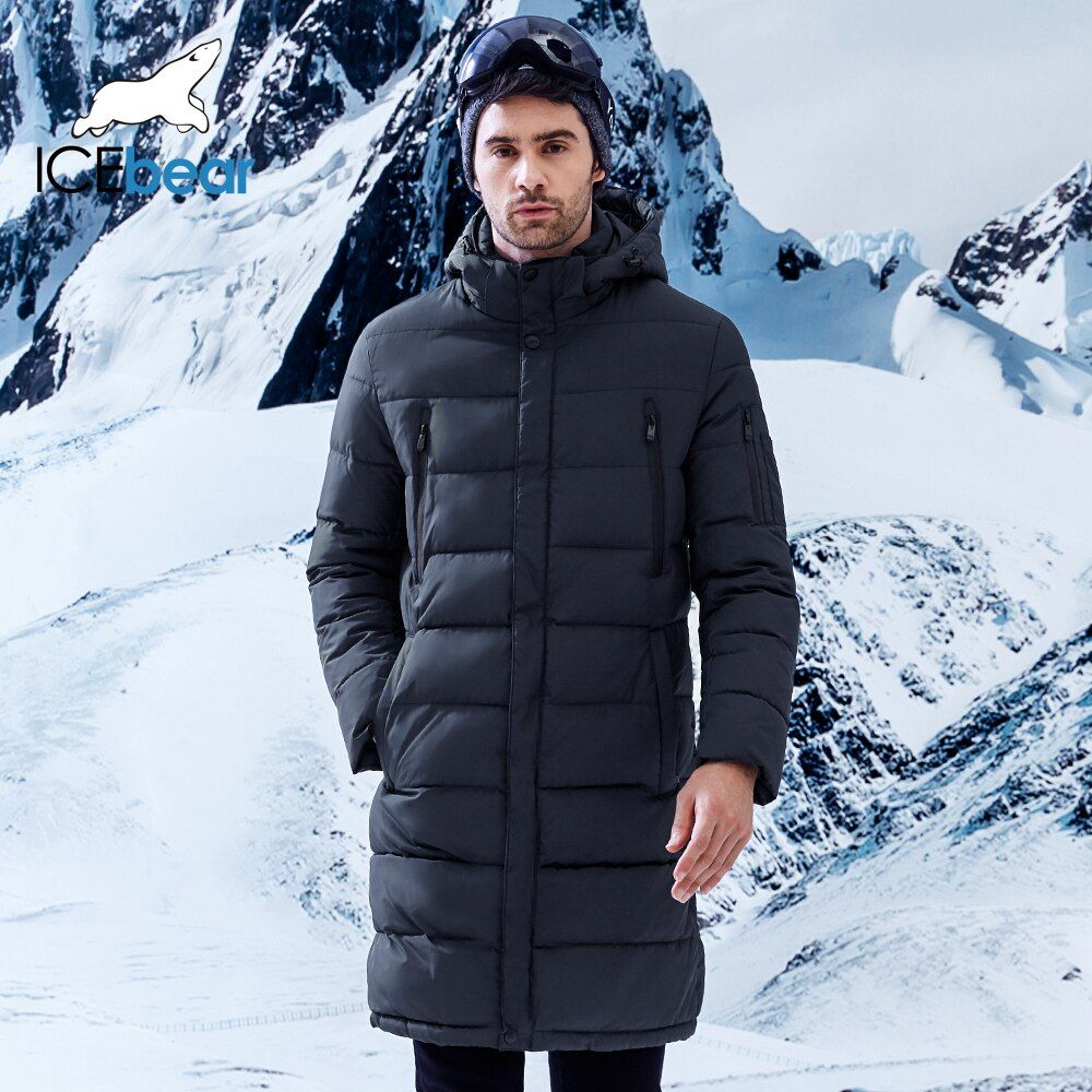 ICEbear 2018 Winter Men's Long Coat Exquisite Arm Pocket Men Solid Parka Warm Cuffs Design Breathable Fabric Jacket B17M298D