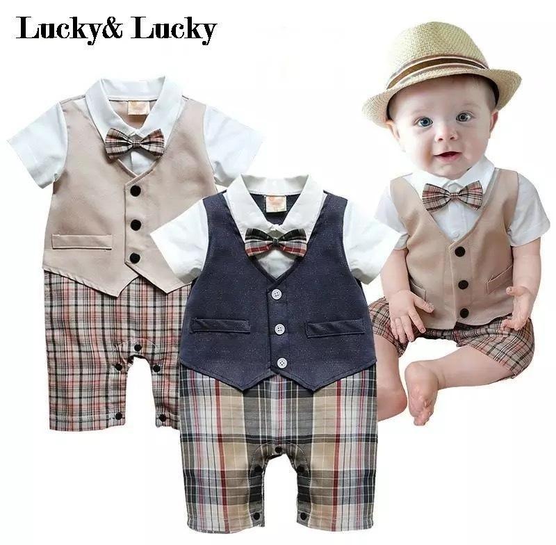 Gentleman bébé nouveau style à manches courtes mariage et fête bébé garçons vêtements coupe barboteuses nouveau-né vêtements