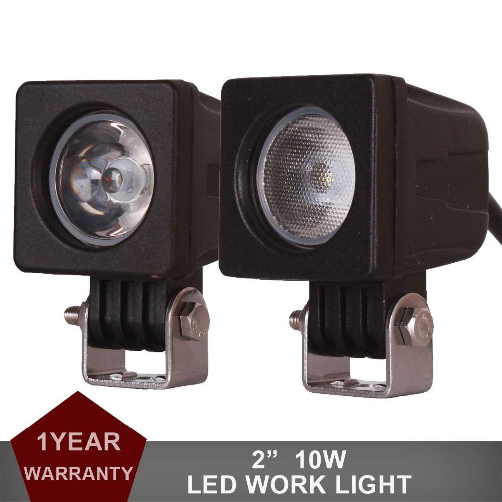 2 pièces 10 W LED lumière de travail Offroad voiture Auto camion ATV moto phare remorque 4WD AWD 4x4 Wagon 12 V 24 V Spot projecteur anti-brouillard