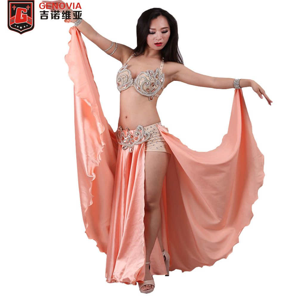Professional Belly Dancing Costumes Set Performance Diamond 2PCS Bra Skirt Oriental Beads Costume Belly Dance Dress C/D Cup