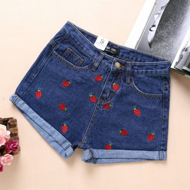 Short Feminino 2017 Spring Summer High Waist Denim Shorts Women Strawberry Embroidery <font><b>Curling</b></font> Casual Short Jeans Shorts Femme