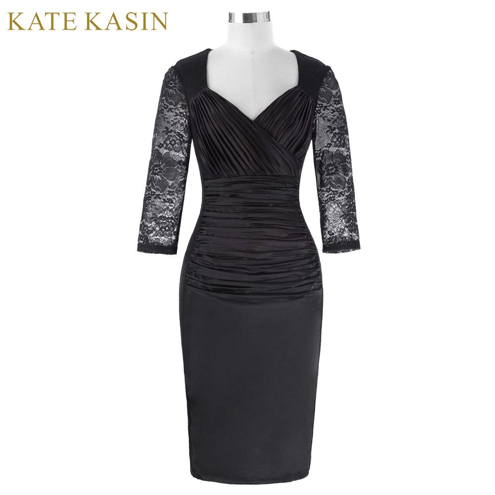 Kate kasin bordados de encaje negro vestidos de coctel cortos 2017 v cuello plisado de baile vestidos de fiesta robe de cocktail formal dress