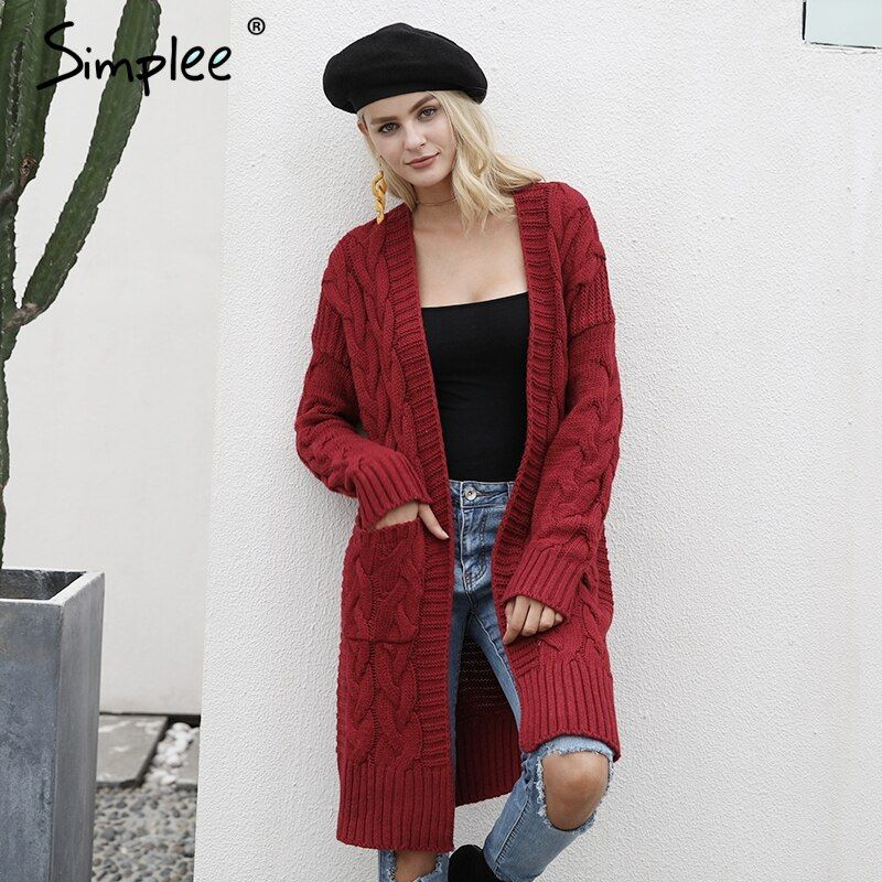Simplee Wine red knitting long cardigan sweater Women jumper army green sweater Female coat 2017 warm knitted pocket outerwear