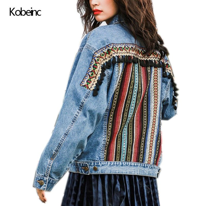 Kobeinc 2017 Autumn Vintage Jeans Jacket Ethnic Geometric Patchwork Jackets Long Sleeve Denim Jaqueta Femme Casual Female Coat