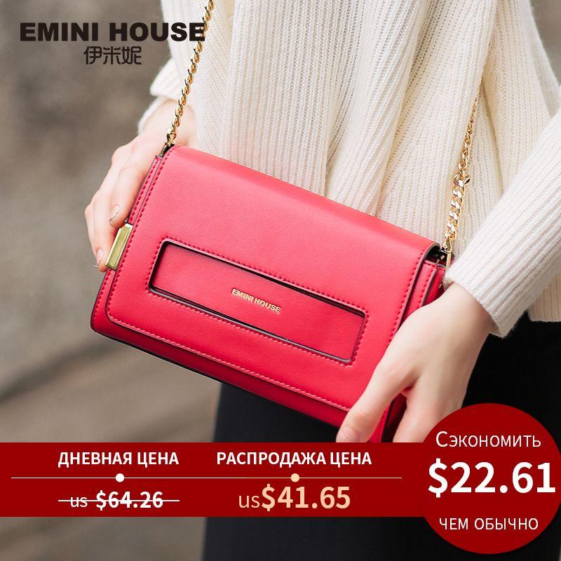 EMINI HOUSE sac à rabat en cuir fendu nouveau Design femmes sacs Messenger pochette décontracté femmes sacs à bandoulière sac à bandoulière de mode