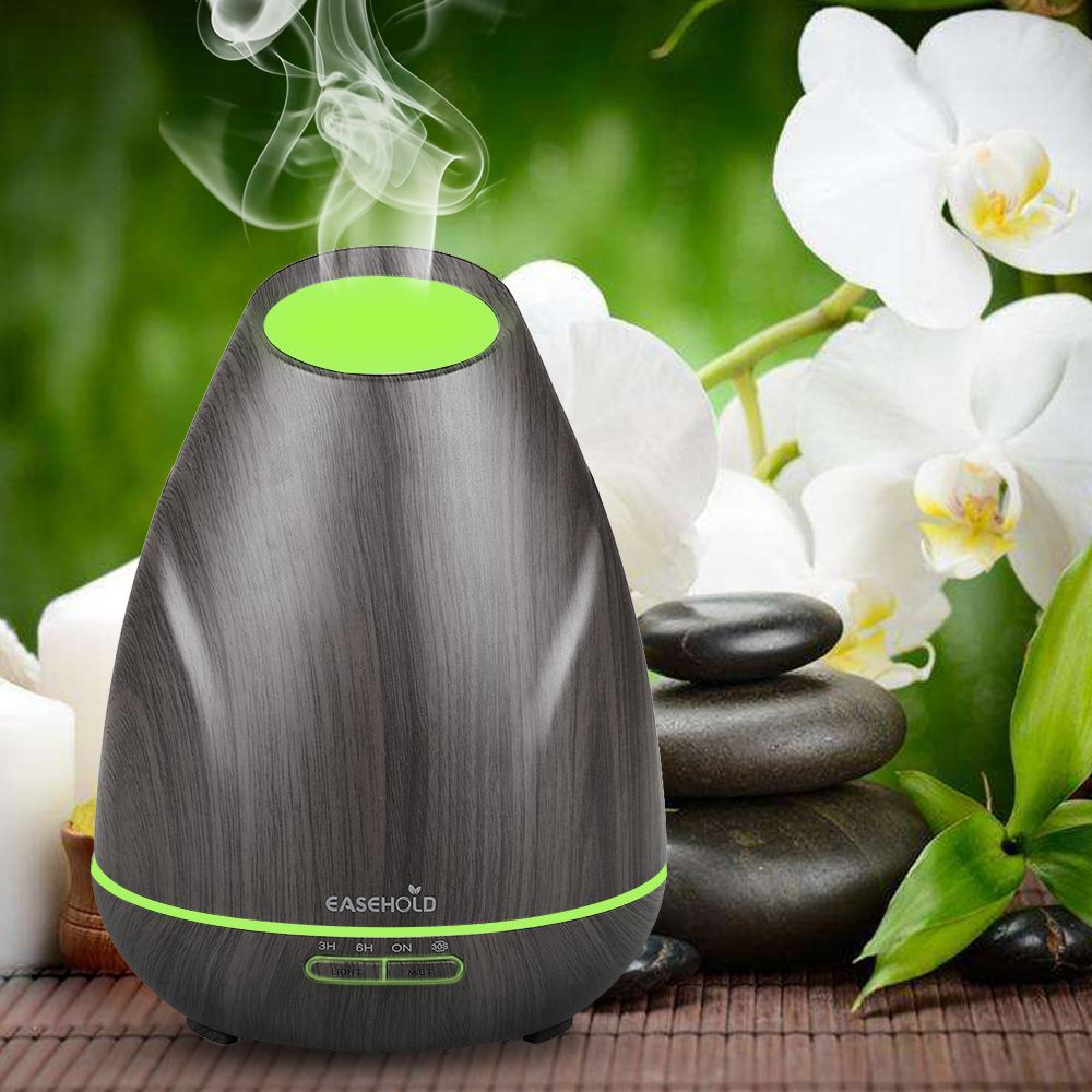 EASEHOLD 400ml Essential Oil Diffuser Wood Grain Aroma Ultrasonic Cool Mist Humidifier with Low Water Protection 4 Time Settings