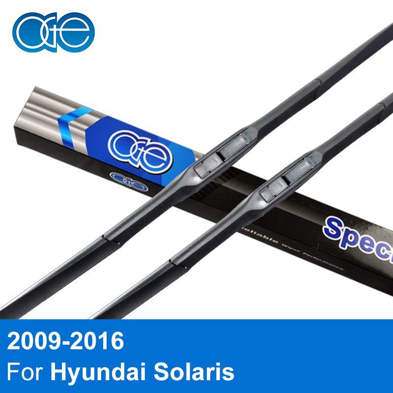 Oge 26'' & 16'' Wiper Blades For Hyundai Solaris Verna 2009 2010 2011 2012 2013 2014 2015 Car Windscreen Rubber Accessories