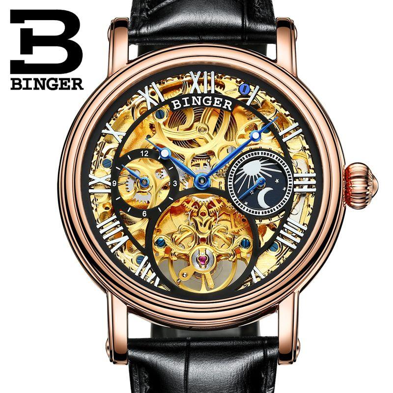 Switzerland BINGER watches men luxury brand Tourbillon Skeleton Relogio Masculino water resistant Mechanical Wristwatches B-1171