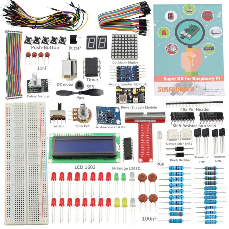 SunFounder DIY Super Kit for Raspberry Pi 3 Model B+ 3B 2B+ B+ A+ Zero With GPIO Extension <font><b>Board</b></font> Jump Wire(Pi not included)