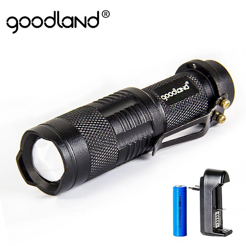 Гудленд светодиодный фонарик T6 Кемпинг Черный Lanterna 5 режимов регулируемая тактический фонарь 18650 Батарея Перезаряжаемые светодиодный фона...