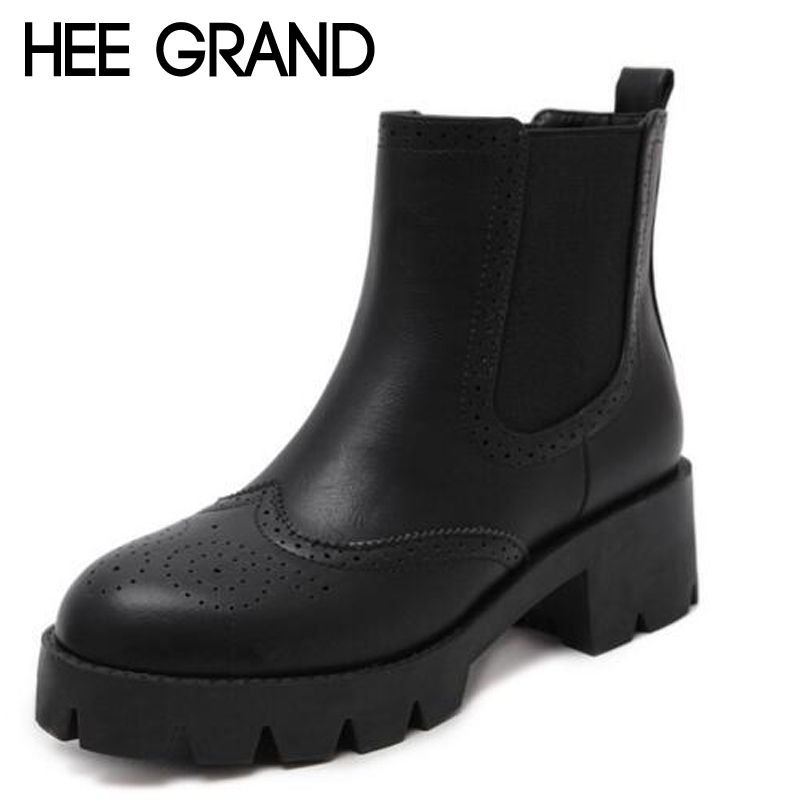 HEE GRAND 2017 New Women Boots Fashion Chelsea Boots Split Leather Fur Boots Size Women's Shoes XWX5876